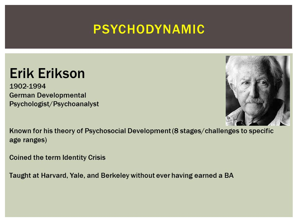 Erik Erikson psychodynamic 1902-1994 German Developmental