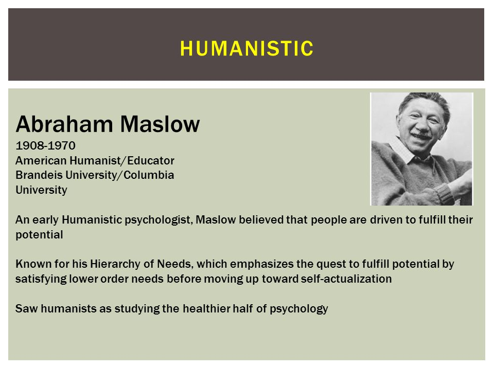 Abraham Maslow humanistic 1908-1970 American Humanist/Educator