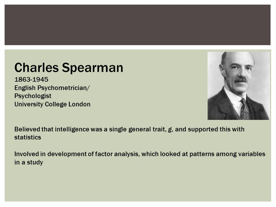 Charles Spearman 1863-1945 English Psychometrician/ Psychologist