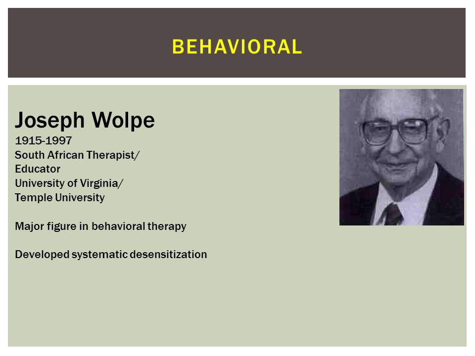 Joseph Wolpe behavioral 1915-1997 South African Therapist/ Educator