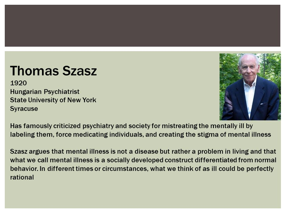 Thomas Szasz 1920 Hungarian Psychiatrist State University of New York