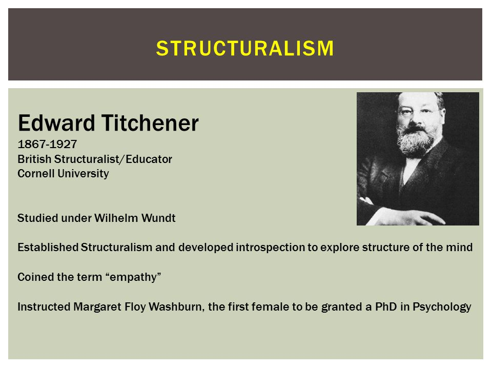 Edward Titchener structuralism 1867-1927