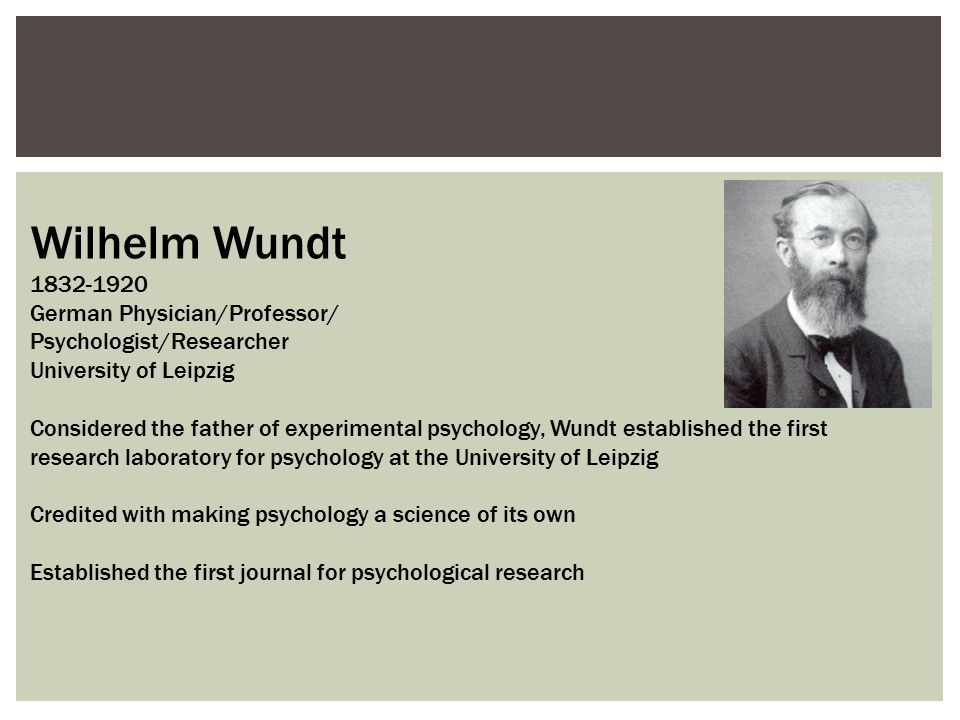 Wilhelm Wundt 1832-1920 German Physician/Professor/