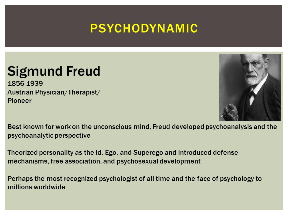 Sigmund Freud psychodynamic 1856-1939 Austrian Physician/Therapist/