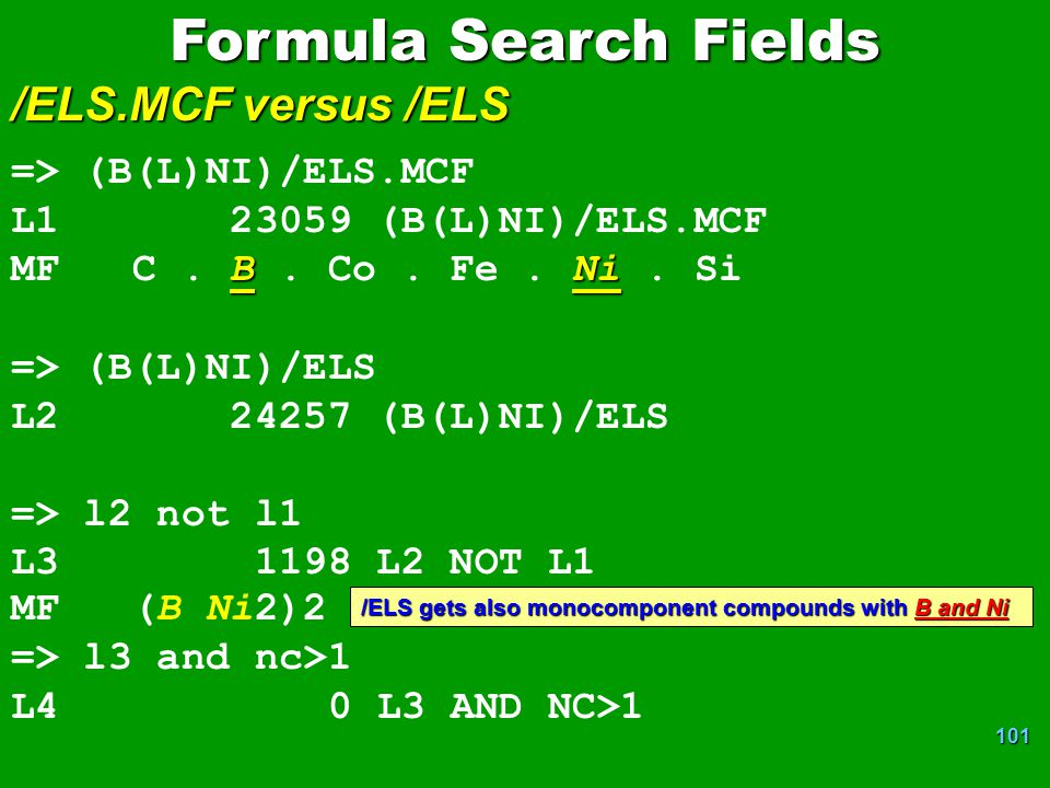 Formula Search Fields /ELS.MCF versus /ELS => (B(L)NI)/ELS.MCF