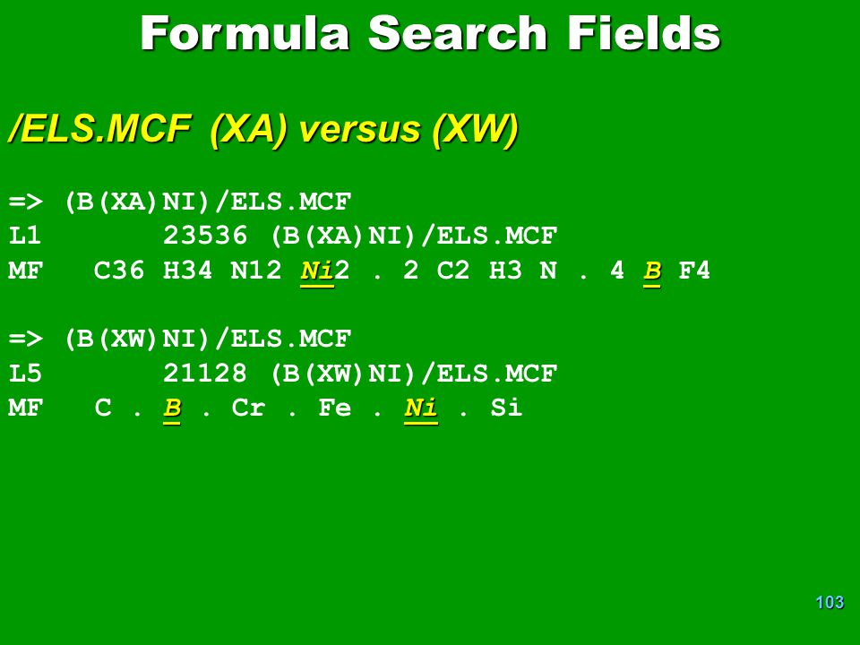 Formula Search Fields /ELS.MCF (XA) versus (XW)