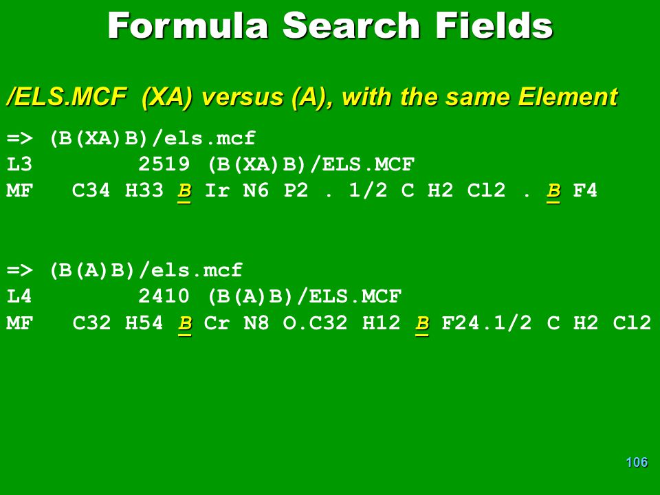 Formula Search Fields /ELS.MCF (XA) versus (A), with the same Element