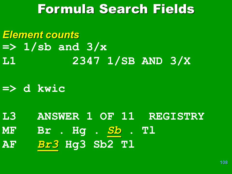 Formula Search Fields => 1/sb and 3/x L1 2347 1/SB AND 3/X