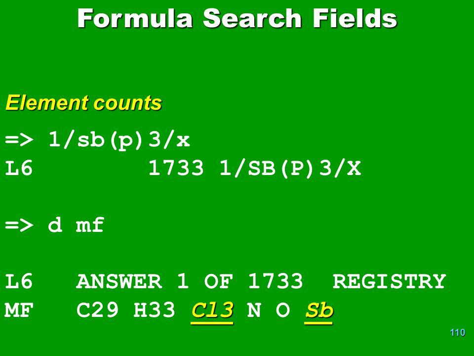 Formula Search Fields => 1/sb(p)3/x L6 1733 1/SB(P)3/X => d mf