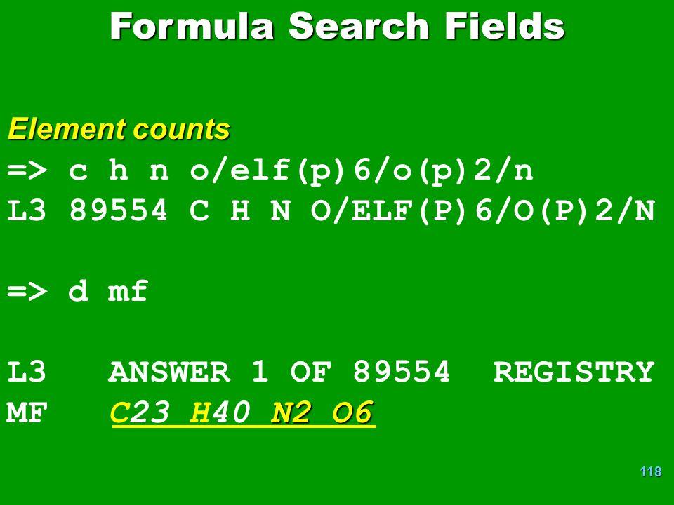 Formula Search Fields => c h n o/elf(p)6/o(p)2/n