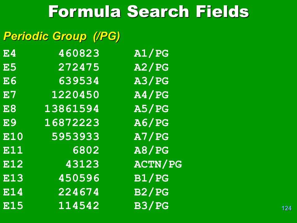 Formula Search Fields Periodic Group (/PG) E4 460823 A1/PG