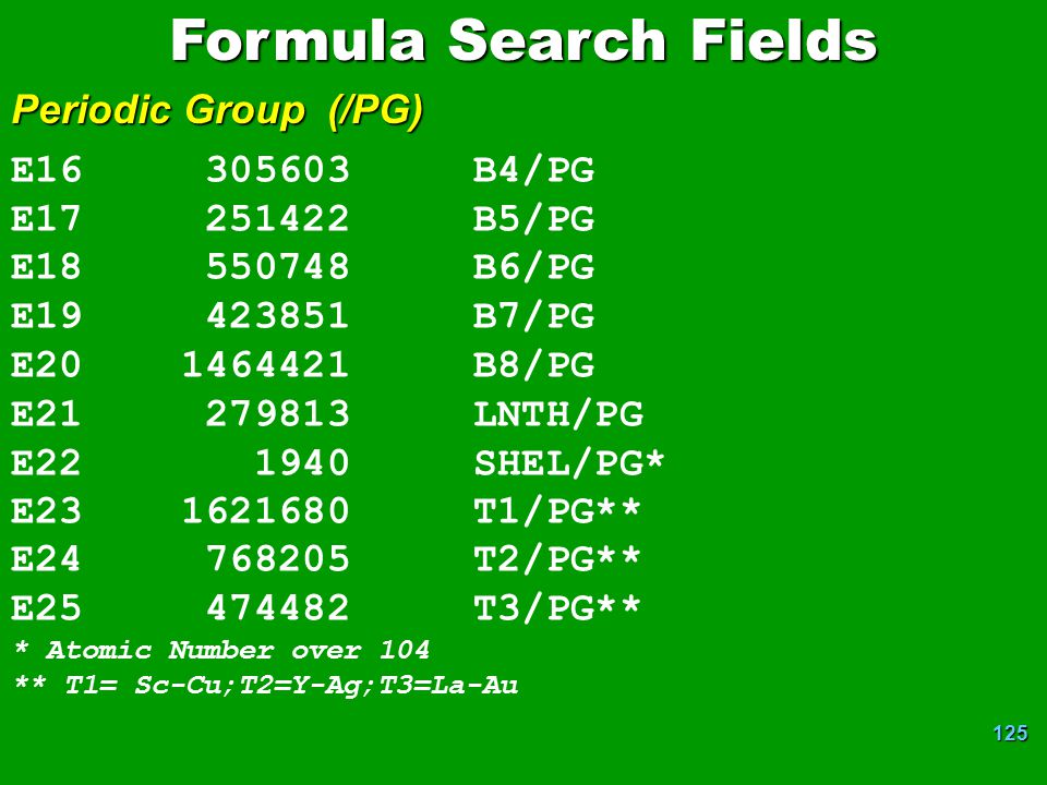 Formula Search Fields Periodic Group (/PG) E16 305603 B4/PG
