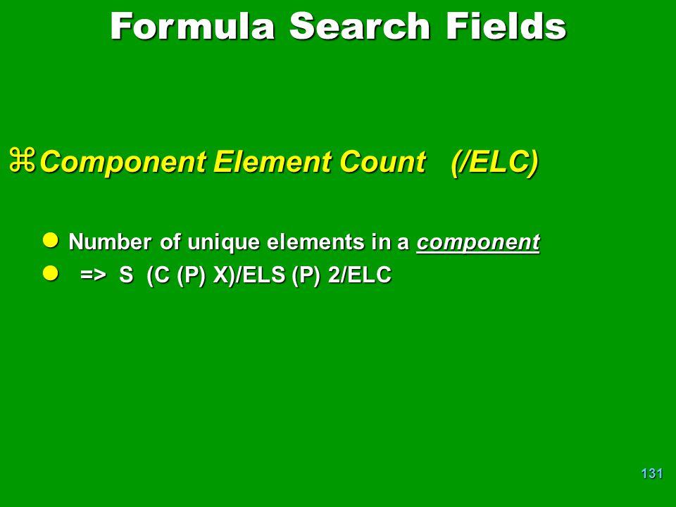 Formula Search Fields Component Element Count (/ELC)