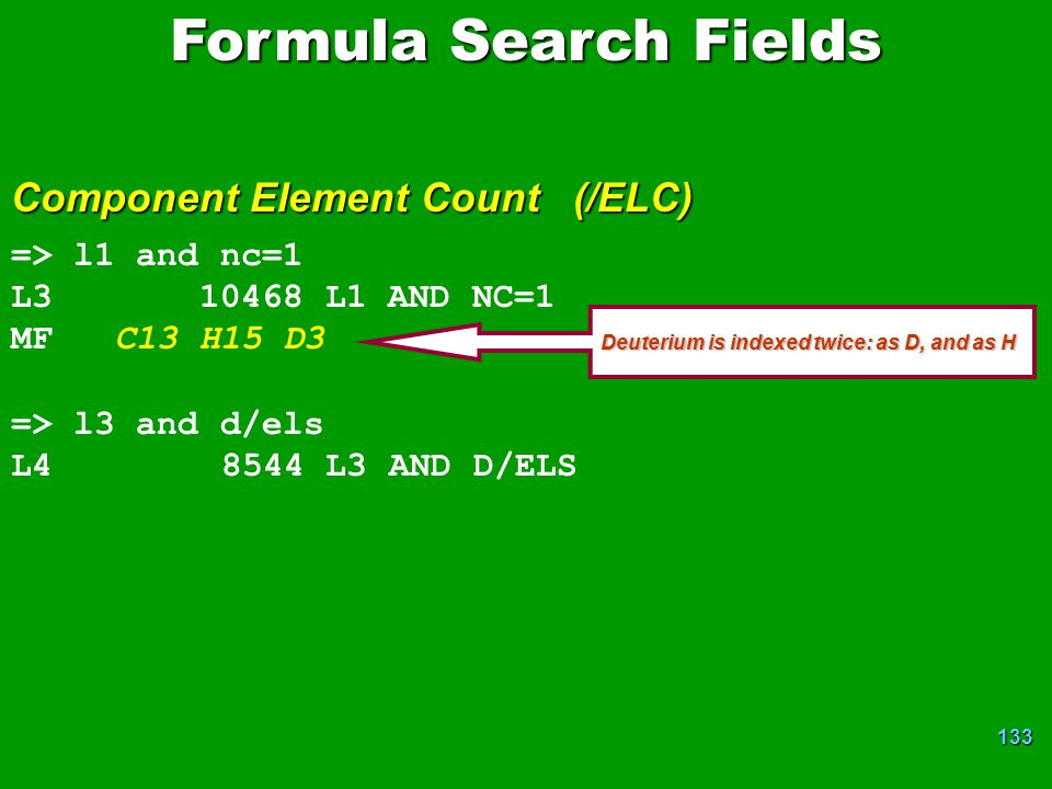 Formula Search Fields Component Element Count (/ELC) => l1 and nc=1
