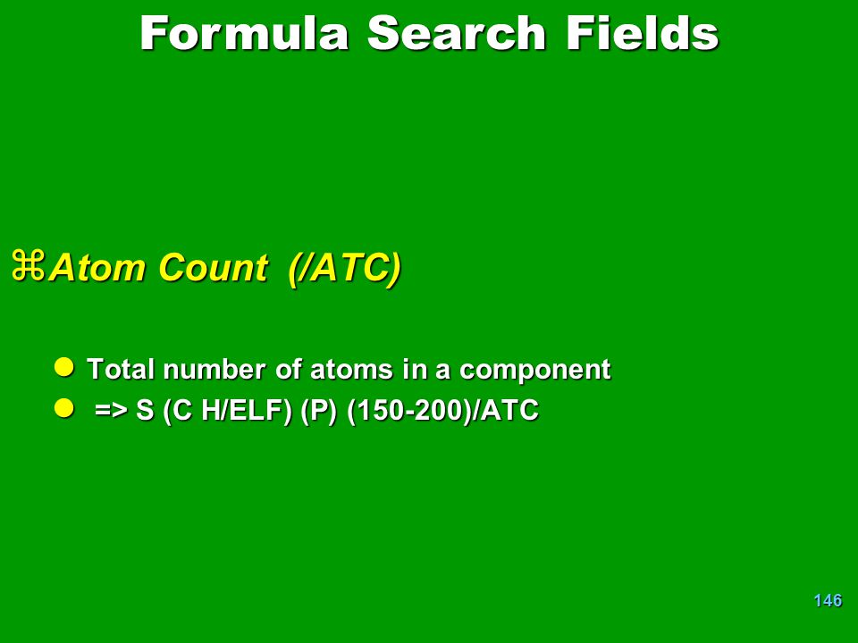 Formula Search Fields Atom Count (/ATC)