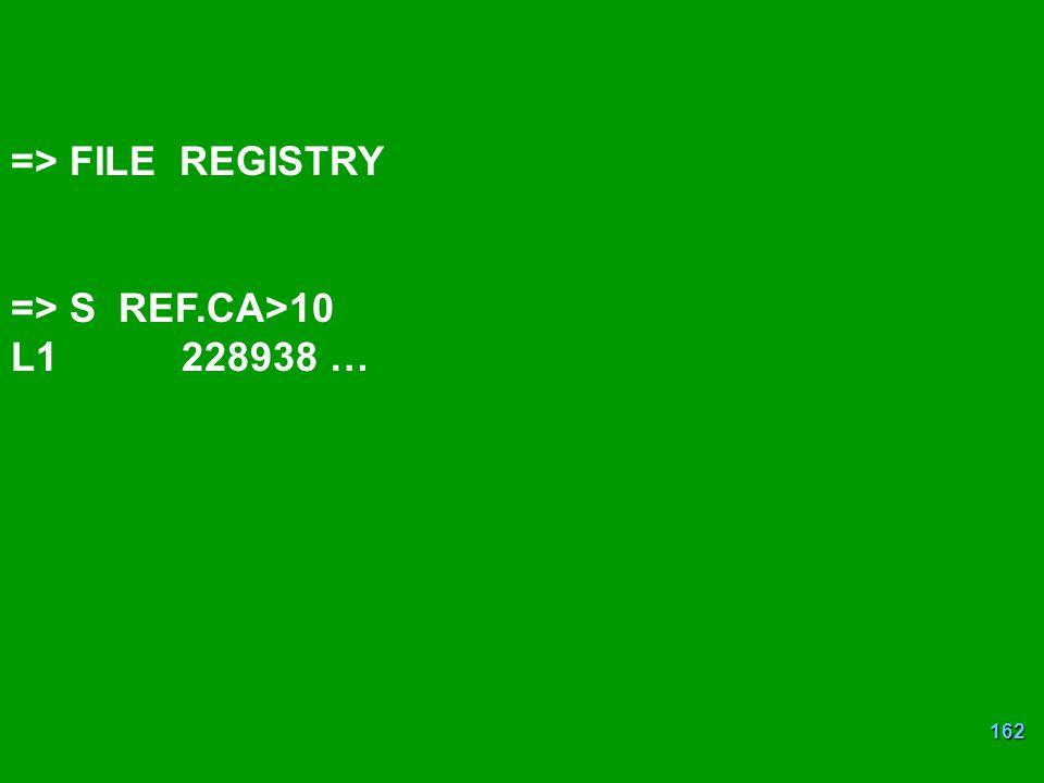 => FILE REGISTRY => S REF.CA>10 L1 228938 …