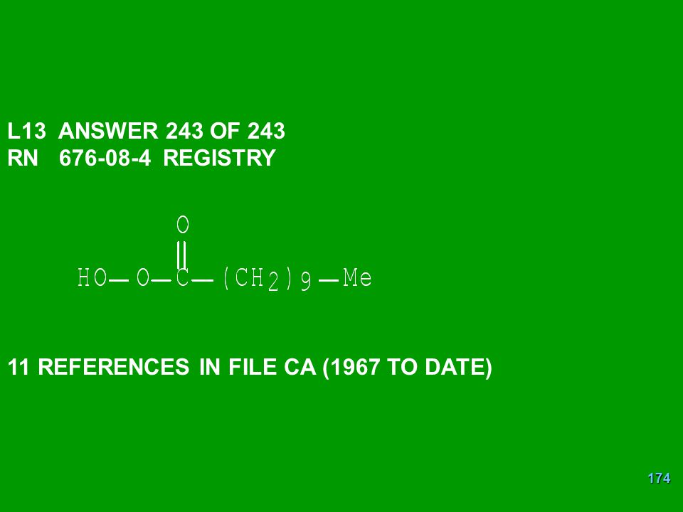L13 ANSWER 243 OF 243 RN 676-08-4 REGISTRY 11 REFERENCES IN FILE CA (1967 TO DATE)