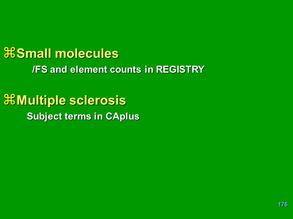 Small molecules Multiple sclerosis /FS and element counts in REGISTRY