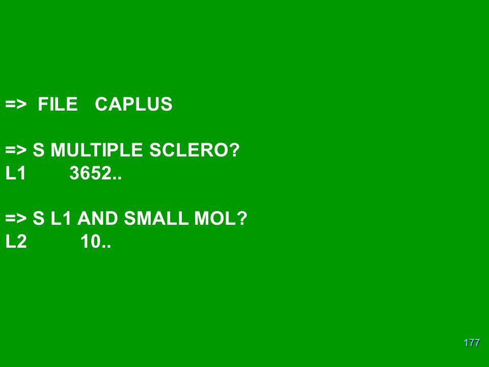 => FILE CAPLUS => S MULTIPLE SCLERO L1 3652.. => S L1 AND SMALL MOL L2 10..