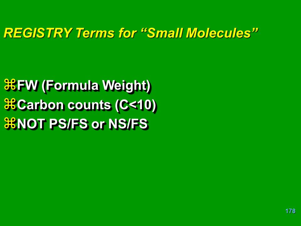 REGISTRY Terms for Small Molecules