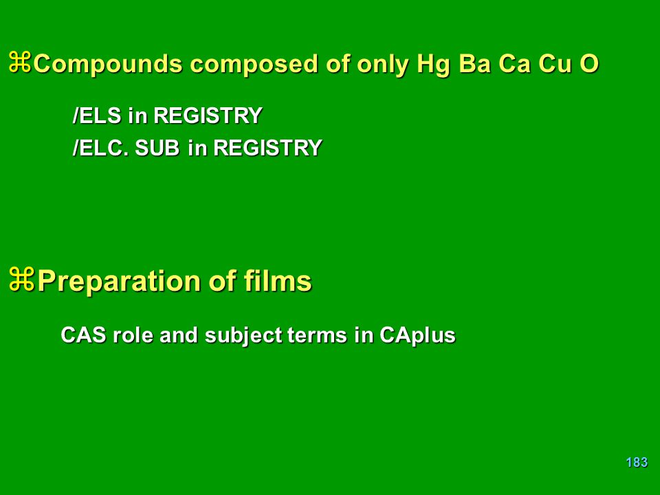 Preparation of films Compounds composed of only Hg Ba Ca Cu O