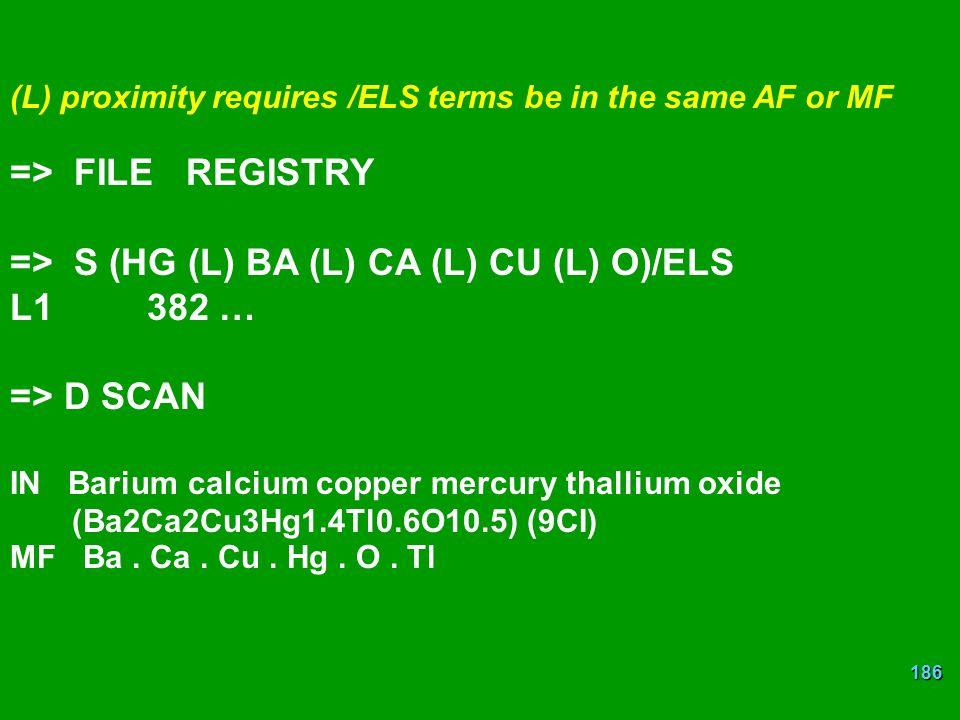 => S (HG (L) BA (L) CA (L) CU (L) O)/ELS L1 382 … => D SCAN