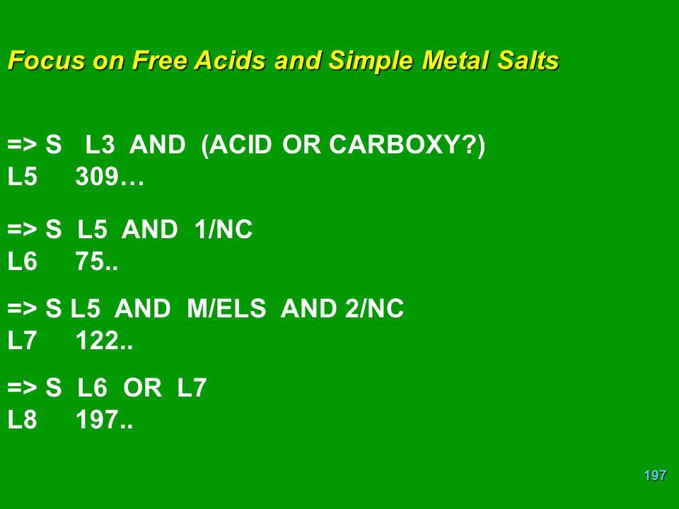 Focus on Free Acids and Simple Metal Salts