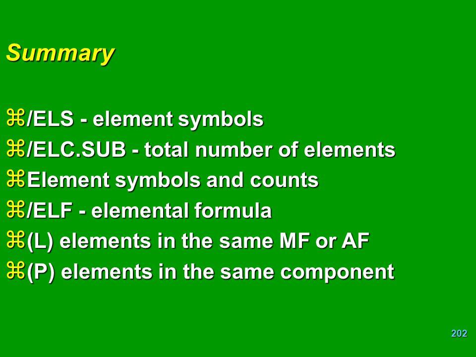 Summary /ELS - element symbols /ELC.SUB - total number of elements