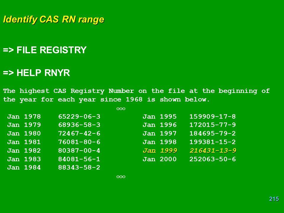 => FILE REGISTRY => HELP RNYR