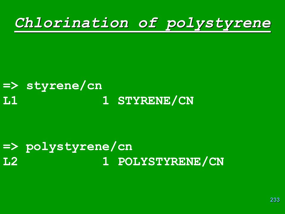 Chlorination of polystyrene