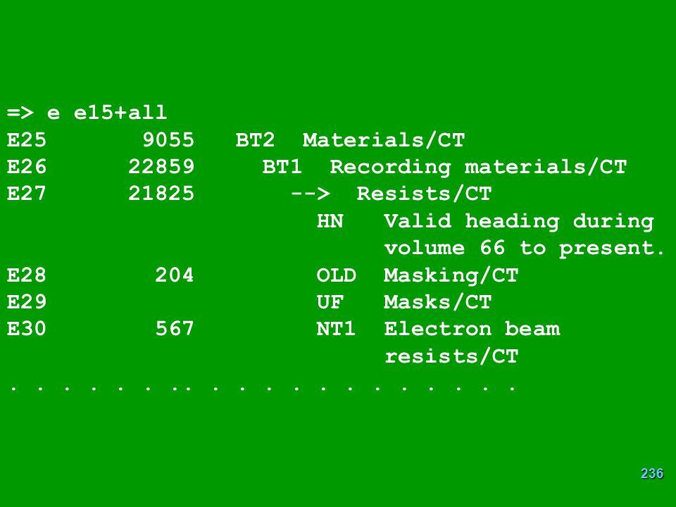 => e e15+all E25 9055 BT2 Materials/CT. E26 22859 BT1 Recording materials/CT. E27 21825 --> Resists/CT.