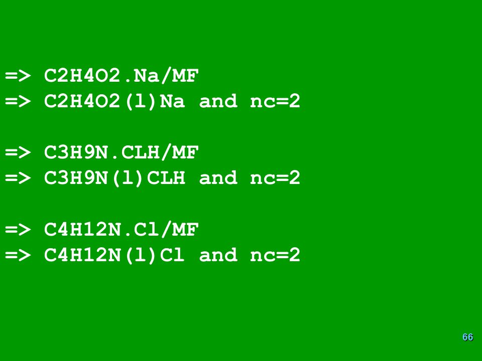 => C2H4O2.Na/MF => C2H4O2(l)Na and nc=2. => C3H9N.CLH/MF. => C3H9N(l)CLH and nc=2. => C4H12N.Cl/MF.