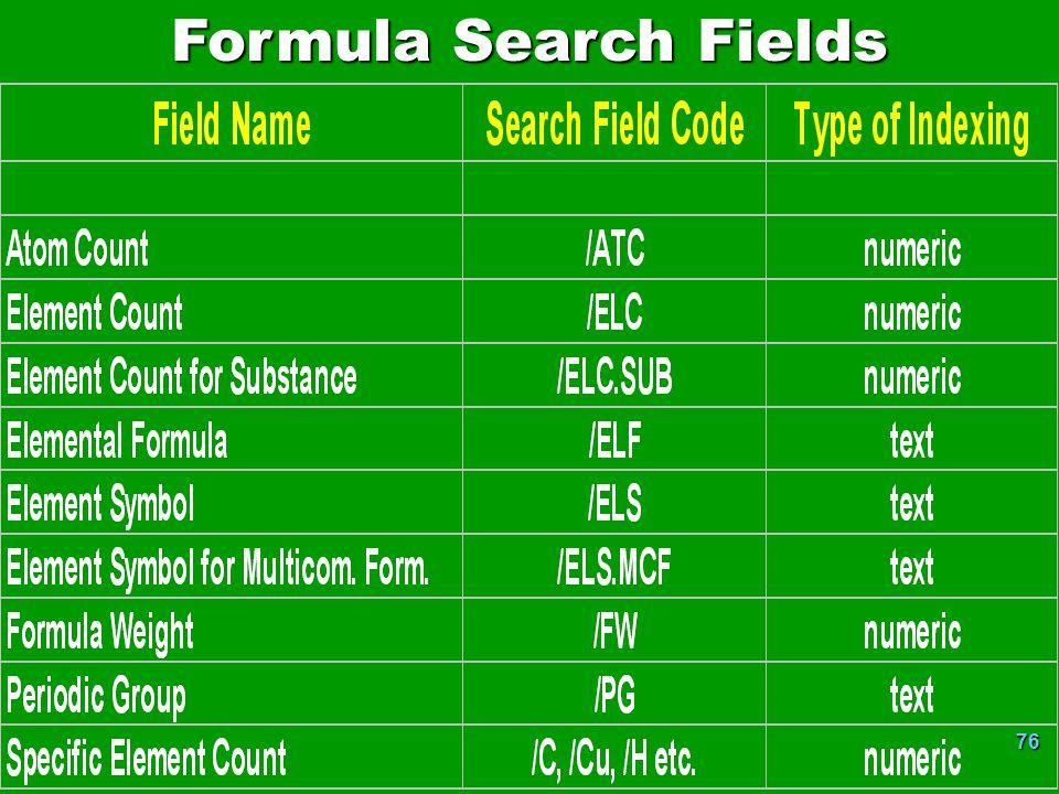 Formula Search Fields