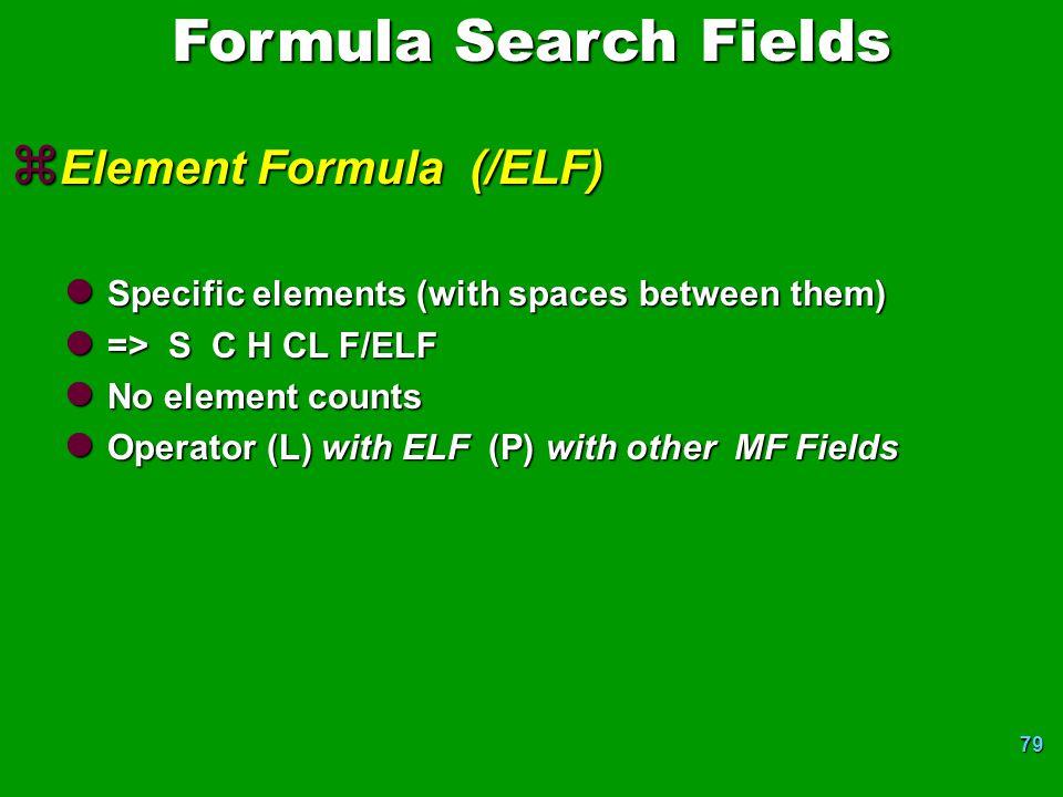 Formula Search Fields Element Formula (/ELF)