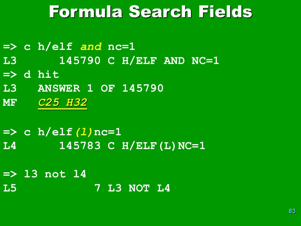 Formula Search Fields => c h/elf and nc=1