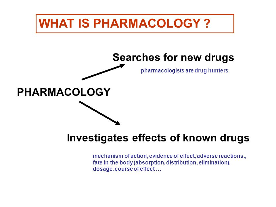 WHAT IS PHARMACOLOGY Searches for new drugs PHARMACOLOGY