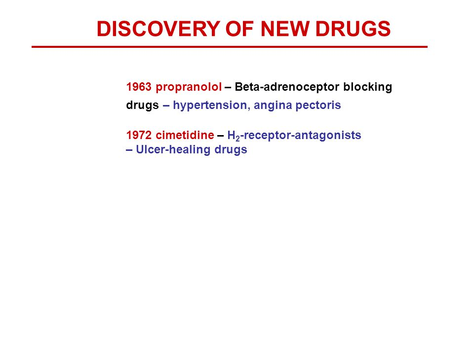 DISCOVERY OF NEW DRUGS 1963 propranolol – Beta-adrenoceptor blocking drugs – hypertension, angina pectoris.