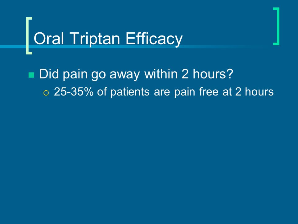 Oral Triptan Efficacy Did pain go away within 2 hours