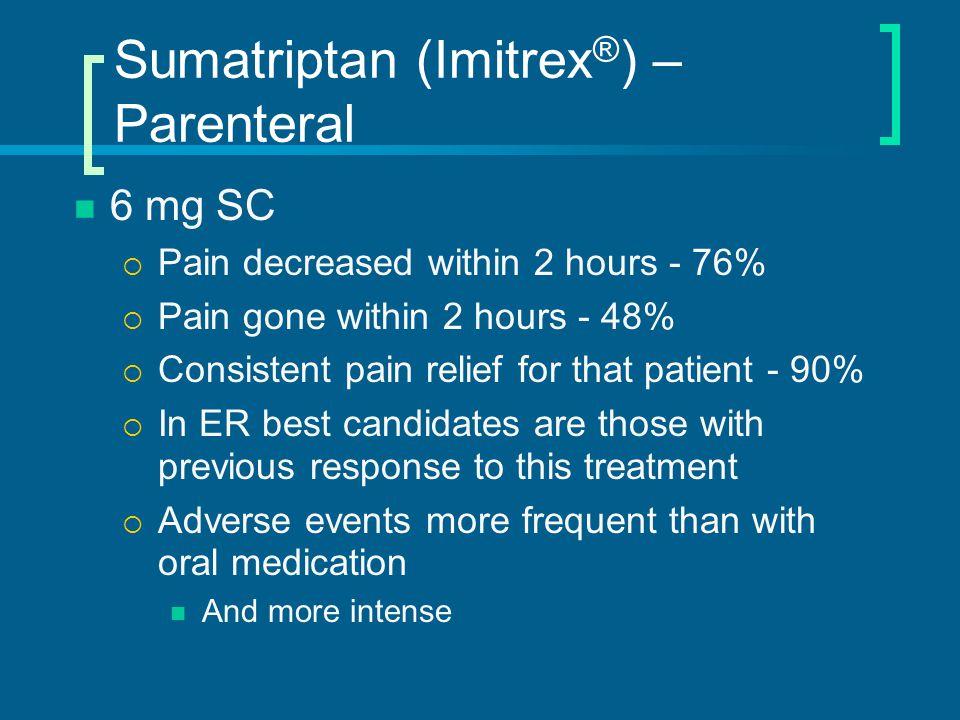 Sumatriptan (Imitrex®) – Parenteral