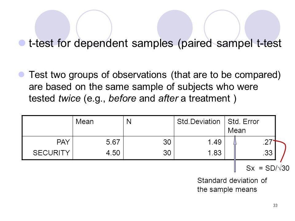 t-test for dependent samples (paired sampel t-test