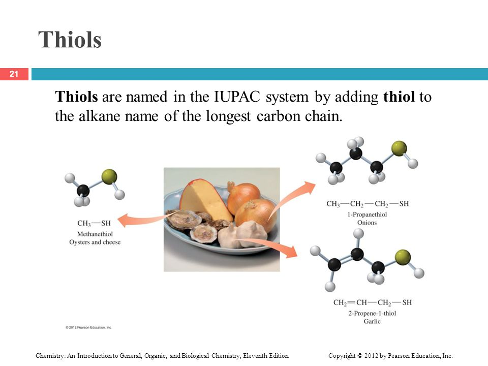 Thiols Thiols are named in the IUPAC system by adding thiol to the alkane name of the longest carbon chain.