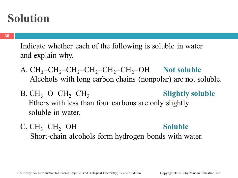 Solution Indicate whether each of the following is soluble in water