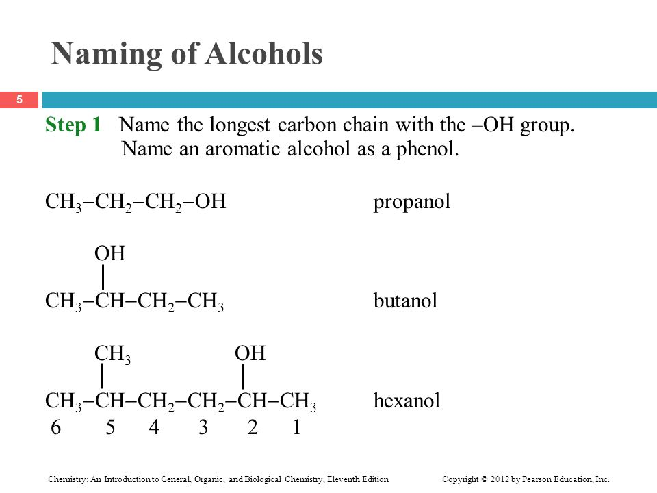 Naming of Alcohols