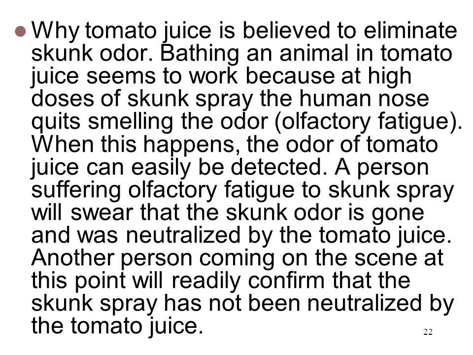 Why tomato juice is believed to eliminate skunk odor