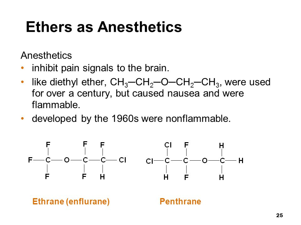 Ethers as Anesthetics Anesthetics inhibit pain signals to the brain.