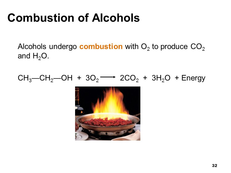 combustion alcohols Primary alcohols in a primary (1°) alcohol, the carbon atom that carries the -oh group is only attached to one alkyl group some examples of primary alcohols are shown below.