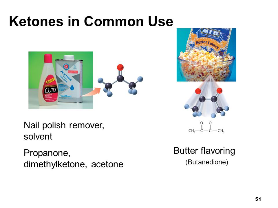 Ketones in Common Use Nail polish remover, solvent