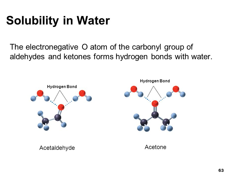 Solubility in Water The electronegative O atom of the carbonyl group of. aldehydes and ketones forms hydrogen bonds with water.