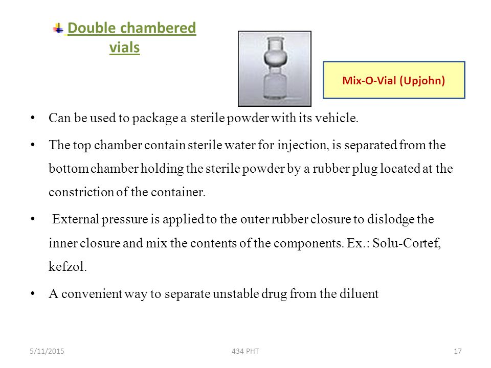 Double chambered vials