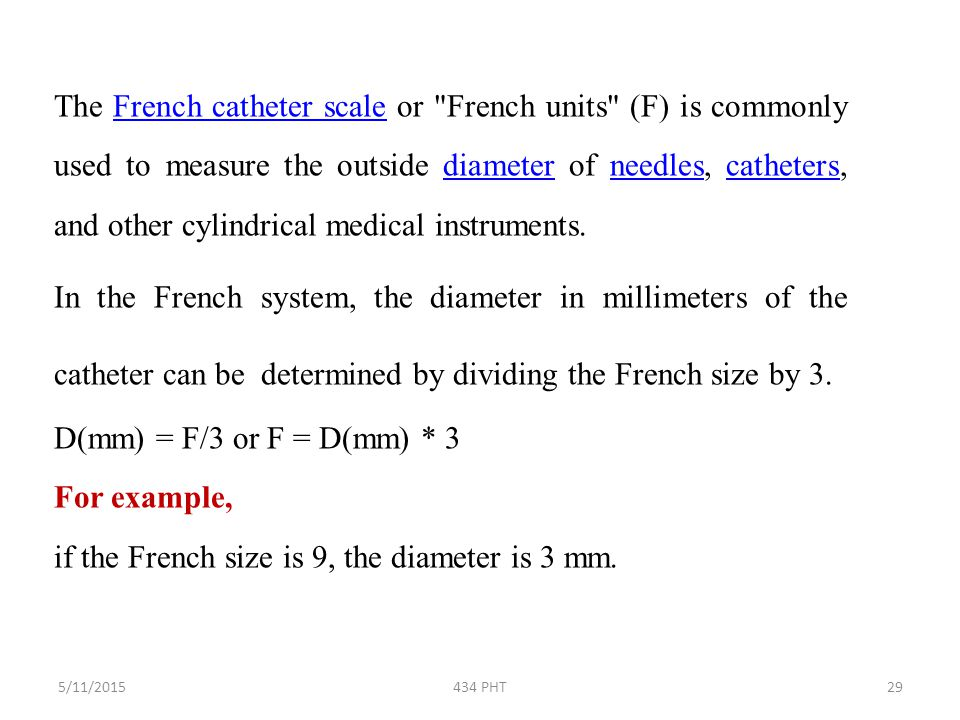 if the French size is 9, the diameter is 3 mm.